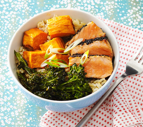 Clinton Kelly Sesame Salmon and Brown Rice Bowl