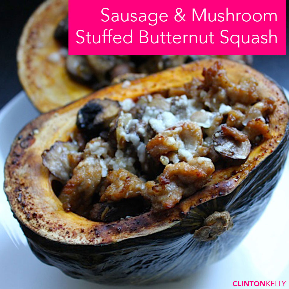 Sausage and Mushroom Stuffed Butternut Squash